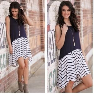 Navy Striped Sleeveless Dress
